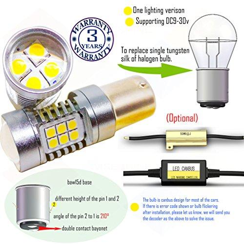 Preisvergleich Produktbild Wiseshine 3000k baw15d led birne lampen DC9-30v 3 Jahre Qualitätssicherung (2 Stück) baw15d 22smd 3030 warmweiß