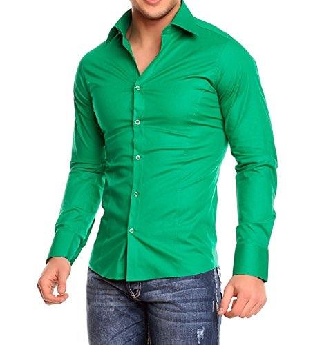 Chemise manches longues unie homme Coupe slim fit Business Vert