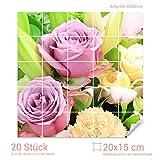 Graz Design 765234_20x15_80 Fliesenaufkleber Blumen-Strauß/Rosen | Wand-Deko für Bad/Küchen-Fliesen (Fliesenmaß: 20x15cm (BxH)//Bild: 80x80cm (BxH))