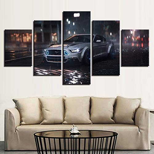 mmwin Moderne Leinwand Gedruckt HD Wandkunst Poster 5 Panel Weiß Auto Landschaft Wohnzimmer Bilder Wohnkultur Modulare