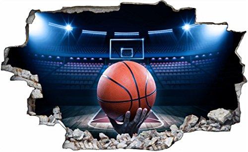 Preisvergleich Produktbild DesFoli Basketball 3D Look Wandtattoo 70 x 115 cm Wanddurchbruch Wandbild Sticker Aufkleber C616