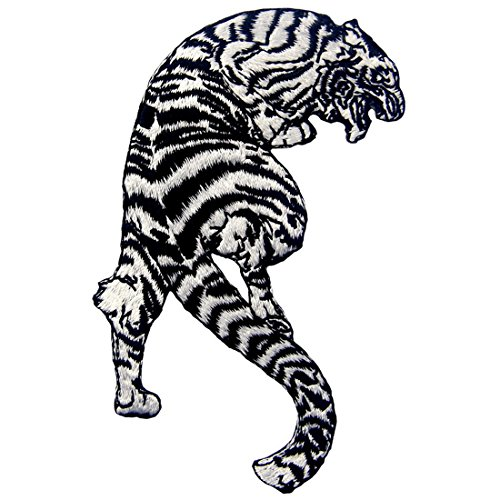 ZEGIN Aufnäher, bestickt, Design: Der brüllende gestreifte weiße Tiger, zum Aufbügeln oder Aufnähen -
