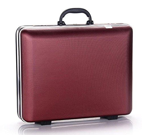 セレブレザー CELEB 税込12,800円 アタッシュケース スーツケース ビジネスバッグ ロック式 出張旅行トラベルキャリーバッグ 仕事 ABS樹脂 PC収納 パソコン ipad ipadmini (大, ワインレッド)