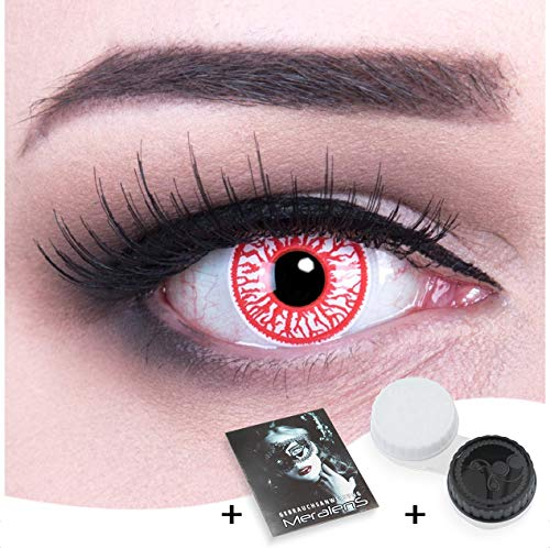 Funnylens 1 Paar farbige rote blutige Crazy Fun blood shoot Jahres Kontaktlinsen.Topqualität zu Fasching und Karneval mit gratis Kontaktlinsenbehälter ohne Stärke!