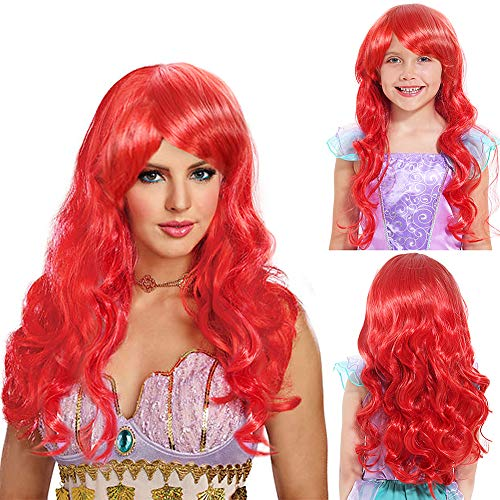 Tacobear Cosplay Perücke Meerjungfrau Perücke Kinder Mädchen Rot Lang lockig Perücke mit Perücke Kappe und Haarklemmen für Cosplay Halloween Karneval