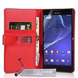 Yousave Accessories Cover Per Sony Xperia T2 Ultra Rosso in PU Pelle Custodia Portafoglio Con Mini Stilo