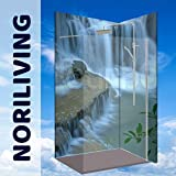 Original NORILIVING Eck-Duschrückwand -Wasserfall oder Ihr Wunschmotiv, fugenlos, kostenloser Zuschnitt auf Ihre Wunschmaße, Rückwand, Bad-Verkleidung, Wandbild, Dekor, Alu-Verbundplatte, Fliesenersatz, schimmelfrei… (Aluminium, 90 x 200 x 0,3 cm), jegliche Größen möglich (Wasserfall_ID8011390)