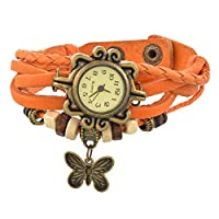 Souarts Retro Armband Quartz Polshorloge Multi Layer Weave Wrap Horloge met Vlinder Hanger Oranje