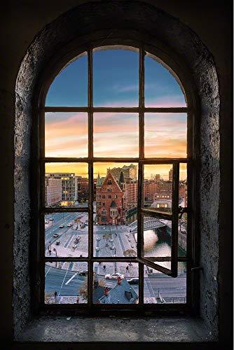Blick durchs Fenster auf die Hamburger Speicherstadt mit Elbphilharmonie. Fotografie Abzug in Galerie QualitätDruck auf Fine Art Photo Papier, versandfertig gerollt als Kunst Foto Bild