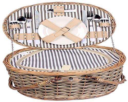 Picknickkorb mit großer Kühltasche für 2 Personen Weidenkorb mit praktischem Inhalt