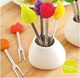 HUAVIN 6 piezas Mezclado Colorido Tenedor de Fruta de Acero Inoxidable con Base de Cerámica