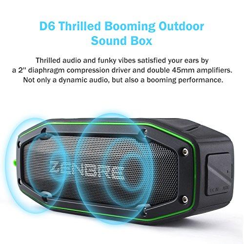 Enceinte Bluetooth,ZENBRE D6 Haut-Parleur sportif Bluetooth V4.1 2x5W avec Étanchéité IPX6, 18h D'autonomie, Son Stéréo et Super Fort avec Résonateur de Basses (Vert)