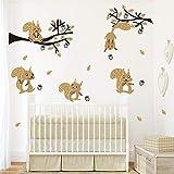 ufengke Stickers Muraux Animaux de la Forêt Arbre Autocollant Mural Marron Écureuil pour Chambre Enfants Bébé Garderie Décoration Murale