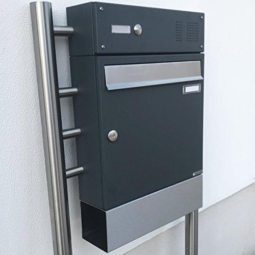 1er Briefkasten, freistehend Design BASIC 381-7016-ZF – Standbriefkasten Edelstahl-Anthrazit-Grau RAL 7016 mit Klingel- Sprechteil & Zeitungsrohr – 150cm Ständer Edelstahl V2A, geschliffen - 4