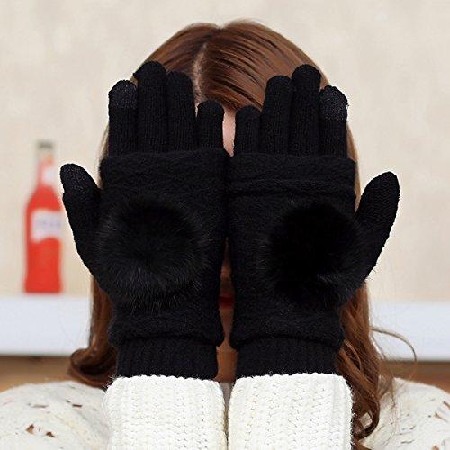 Strickhandschuhe-Frauen Multifunktional Winter Verdickung Halben Finger Fingersatz Touchscreen Wärme,Black (Mädchen Fingersatz)