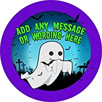 Ghosts Sticker Labels Personalised Seals Ideal for Party Bags, Sweet Cones, Favours, Jars, Presentations Gift Boxes, Bottles, Crafts