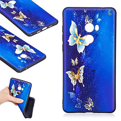 JARNING Compatible con Xiaomi Mi Mix 2 Funda Silicona Antigolpes Painting TPU Case Esquinas Reforzadas Carcasa Flexible para Xiaomi Mi Mix 2 (Mariposa Dorada)