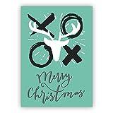 1 Coole Weihnachtskarte mit Umschlag (privat & geschäftlich), Geschenkkarte zu Weihnachten, Grußkarte zum Weihnachtsfest mit Hirsch und Küssen: Merry Christmas auf türkis