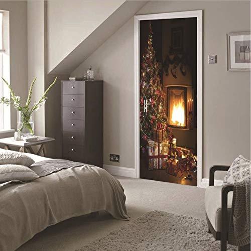 Weihnachten Kamin Wandaufkleber Wandbild Schlafzimmer Tür Poster Home Decor 77X200Cm