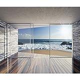 decomonkeyFototapete Fenster zum Meer Strand Sonne 350x256 cm XXL Design Tapete Fototapeten Vlies Tapeten Vliestapete Wandtapete moderne Wand Schlafzimmer Wohnzimmer FOB0064c84XL