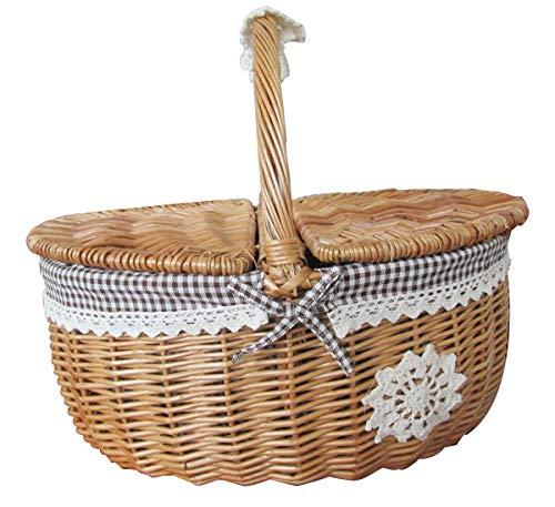 Chuan Rong Willow Rattan Anzahl großer Picknick - Korb mit Deckel, Obst, blauen erhalten Korb, Hand - Korb, warenkorb, Geschenk - und Post - (Warenkorb-geschenk-korb)