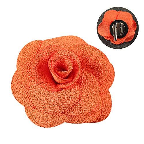 Soleebee NS001B Ansteckblumen Herren Handgefertigt Revers Pin Blume Set Revers Krawatte Brosche Kamelie Boutonniere für Anzug mit Clip (Orange)