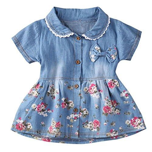❤️Robe de Filles , Amlaiworld Filles Robe en Denim Robe d'impression Florale Bowknot Robe Manches Courtes Robe Princesse Tenue Pour 0-24Mois Fille (L/12-18Mois, Bleu)