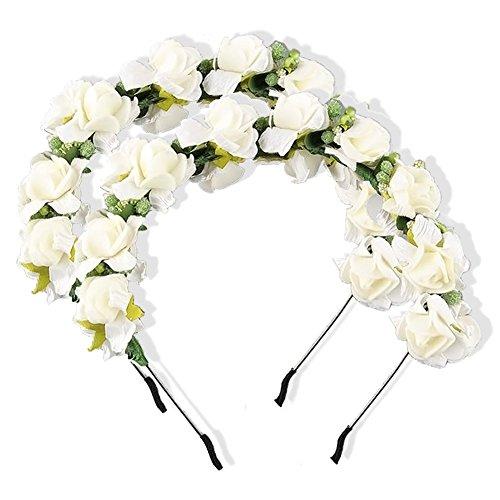 lumen Stirnband Blumengirlande Hochzeit Haarkranz Prom-Haar-Zubehör Blume Krone für Brautjungfer (Süßes Paar Halloween Outfits)