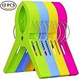 Ouinne 12PCS Grosses Pinces à Linge en Plastique Grand Taille Clips pour Serviette de Plage, Serviette de Bain, Multicolores