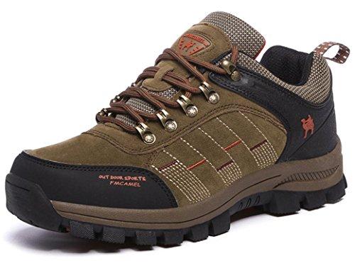 FMCAMEL Botas de senderismo de Piel para Man Botas de Senderismo Impermeables de ocio al Aire Libre Zapatos de Deporte Zapatillas de Senderismo cordones Trainer botas 39-47