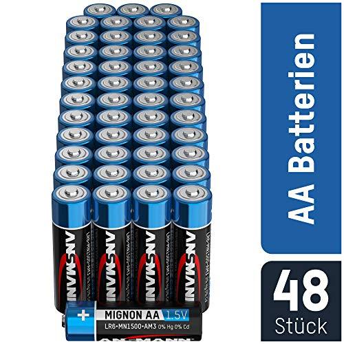 ANSMANN Batterien AA Mignon Alkaline 48 Stück Vorratspack - LR6 Alkali Batterie - Universal und Leistungsstark - umweltschonende Verpackung