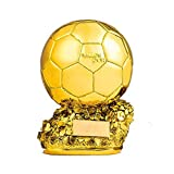 Trophée d'or du Football, Copie Trophée De La Coupe d'europe, Joueur De L'année dans Le Monde du Ballon De Football en Résine Dorée, Statues du Football 24Cm...