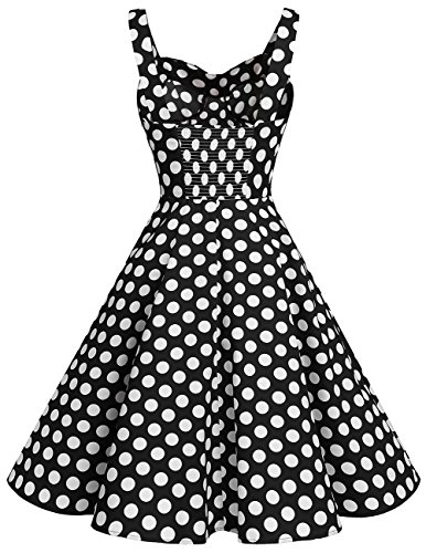 Dresstells Schultergurt 1950er Retro Schwingen Pinup Rockabilly Kleid Faltenrock Black White Dot XL - 3