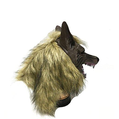 Monbedos Kopfmaske aus Latex mit Tierkopf, Wolfsmaske für Halloween, Cosplay, Party, Kostüm, Größe 28 x 19 cm