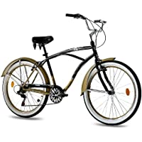 "KCP 26"" Beach Cruiser Comfort Bike Mens Easy Rider 2.0 6S Shimano Black Gold (SG) Retro Look - (26 Zoll)"