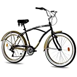 26' BEACHCRUISER KCP ER 2.0 HERRENFAHRRAD 6 Gang SHIMANO schwarz gold RETRO LOOK...