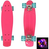 "Ancheer 22"" Skateboard Complete Classic Retro Cruiser Plastic Skate Board with LED Light Up Wheels"