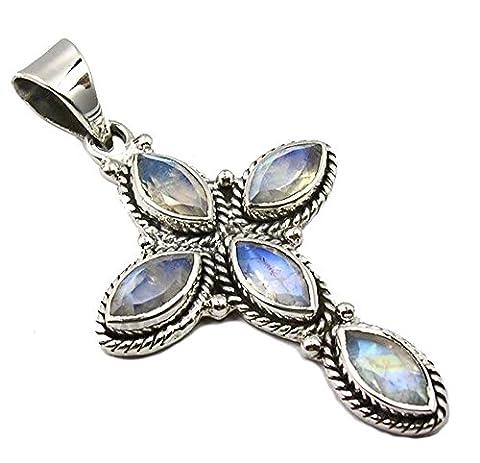 Unique Rainbow Moonstone Pendant Cross 925 Sterling Silver 12.5 Carat Jeweller's Quality Marquise Navette Cut