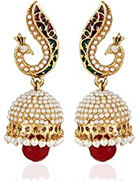 Shining Diva Fashion Jewellery Gold Plated Stylish Fancy Party Wear Peacock Pearl Jhumki Traditional Earrings...