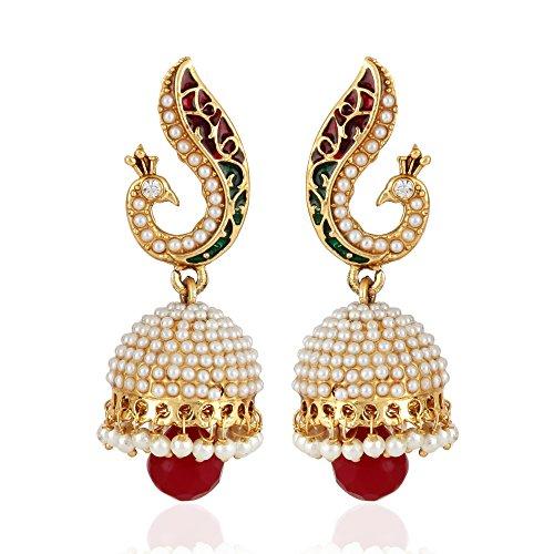 Shining Diva Fashion Jewelry Jewellery 18k Gold Plated Stylish Fancy Party Wear Peacock Pearl Jhumki Traditional Earrings For Women & Girls
