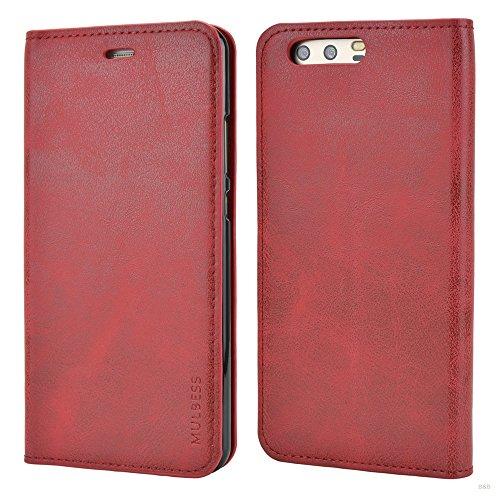 Custodia Huawei P10 Plus, Mulbess Slim Style Flip Caso Pelle Premium Portafoglio Custodia per Huawei P10 Plus Cover,Rosso