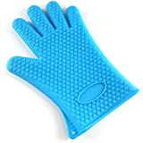 Kuke 1 Pair of Silicone Oven Mitt Gloves for Cooking,Baking,Barbecue & Potholder (Blue)