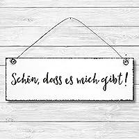 Schön, dass es mich gibt - Dekoschild Türschild Wandschild aus Holz 10x30cm - Holzdeko Holzbild Deko Schild zur Dekoration Zuhause im Büro auch perfekt als Geschenk Mitbringsel zum Geburtstag Hochzeit Weihnachten für Familie Freundin Mutter Schwester Tochter
