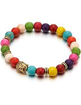8MM Bunte Harz Perlen, Damen Mädchen Bettel Charme Armband mit Goldfarben Buddha Charm, Prayer Mala