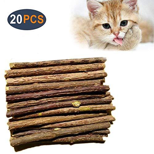 AIDIYA Catnip-Sticks 100% natürliche Bio-Matatabi Dental mit Zähne-Kauen Spielzeug-Kennzeichnung, für Katzen, 20 Stück im Set (L)