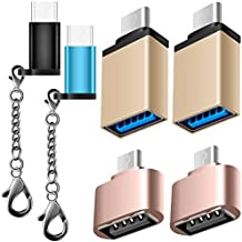 6 Pack Adaptador Tipo C USB-C, AFUNTA Tipo C a Micro USB Adaptador, Micro USB 2.0 OTG y Adaptador USB-C a USB 3.0 hembra Conector Convertir Cargador rápido con llavero para Samsung Galaxy S8 Nuevo Macbook Pixel XL Nexus 5X 6P