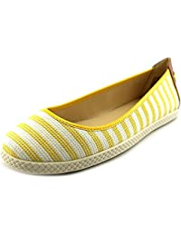 Nine West Royalli Women Round Toe Canvas Yellow Flats Yellow White 7.5 B(M) US