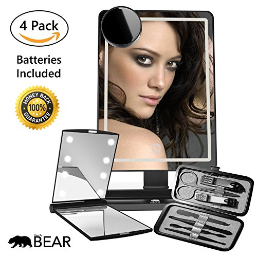 LED Vanity Make Up Mirror Kit by GearbyBear | Illuminated Magnifying Handheld Compact Bathroom Mirrors and Black Stainless Steel Manicure Set | Maintaining Your Perfect Face Throughout The Day | Batteries Included