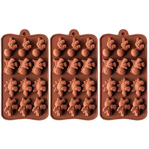BREEZO Muffinblech aus Silikon für 3X 12er Silikon Backform Muffinform, antihaftbeschichtet für Muffins Cupcakes Kuchen Pudding Eiswürfel und Gelee, Mini Dinosaurier Schokolade 40mm x 30mm x 15mm - Dinosaurier-kuchen-form