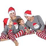 Weihnachten Schlafanzug Familien Outfit Mutter Vater Kind Baby Pajama Langarm Nachtwäsche Santa Print Sleepwear Casual Xmas Rundkragen Festival T Shirt Langarmshirt Oberteile Top Gestreift Hose Set